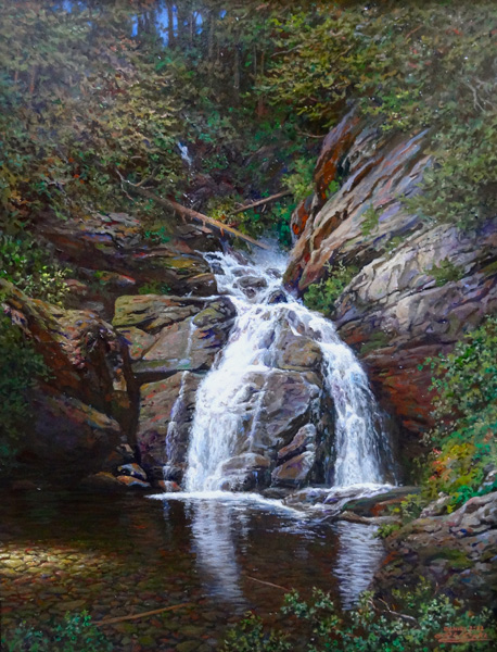 Larry Dyke, Falls on the Delaware, oil painting