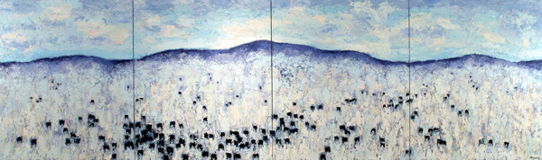 Theodore Waddell, Monida Angus #15, 2012. Oil, 6 1/2 x 26 feet. Collection of the artist.