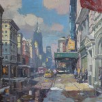 John C. Traynor, Waiting Outside Anthropologie (West Broadway), oil, 36 x 48.