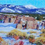 Walt Gonske, Picuris Pueblo Land, oil, 22 x 30.