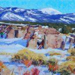 Walt Gonske, Picuris Pueblo Land, oil, 22 x 30.