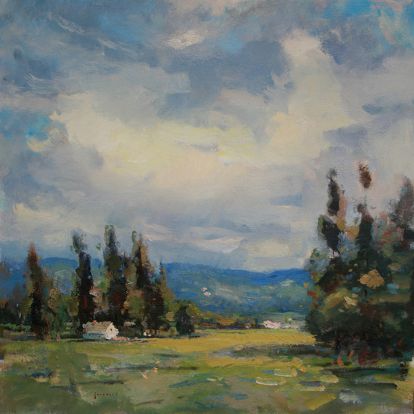 Eric Jacobsen, Warm Clouds, oil, 28 x 28.