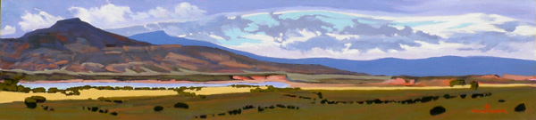 Mary Ann Warner, Every Cloud Has a Silver Lining, oil, 10 x 30.