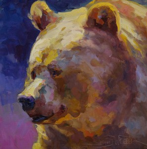 Sarah Webber, Sunshine on My Shoulder, oil, 16 x 16.