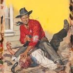 Ernest Chiriacka, Western Pulp Cover, gouache, 16 x 20.