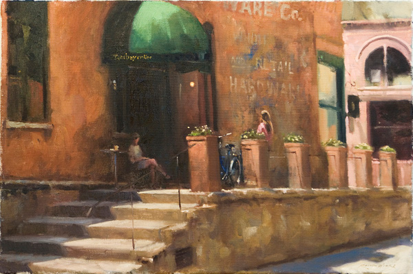 Keith Wicks, Tomboy Coffee, oil cityscape painting