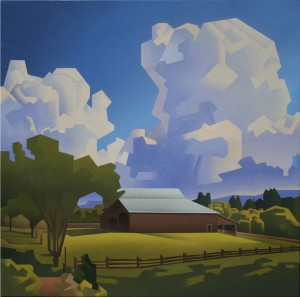 David Jonason, Wine Country Farm, oil, 36 x 36.