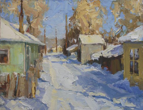 Winter Alley, oil, 11 x 14.
