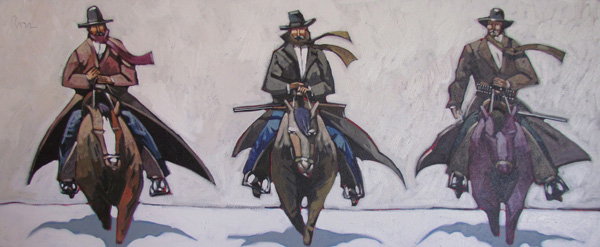 Thom Ross, Winter Riders, acrylic, 22 x 48.