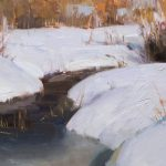 Daniel Keys, Winter Stream, oil, 8 x 12.