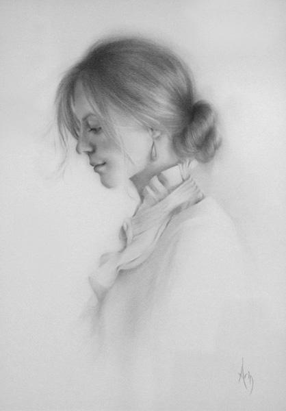 Arin Martin, Wonder, graphite, 14 x 10.