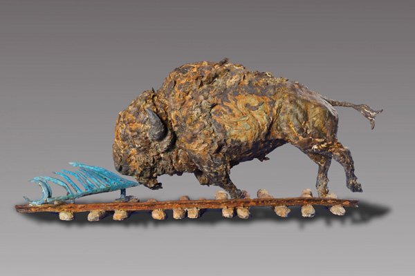 Greg Woodard, Taking on Jupiter, bronze, 20 x 44 x 13.