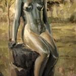 Derek Penix, Woodward Statue, oil painting