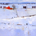 Dinah Worman, Blue Skies & Snow, oil, 46 x 40.