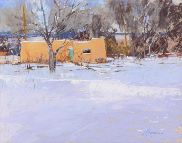 Dinah Worman, Tracks in a Field of Snow, pastel, 16 x 20.