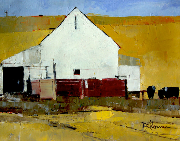 Dinah Worman, Cows and Barn, oil, 11 x 14.