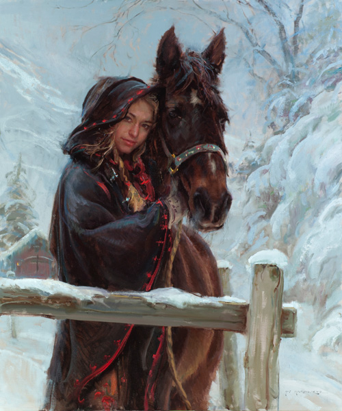 Daniel Gerhartz, Wrapped in Winter, oil, 48 x 40.