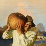 N.C. Wyeth, Farmer With Pumpkin, oil, 47 x 34. Estimate: $250,000-$350,000.