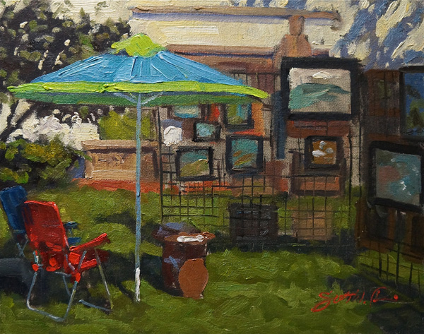 Scott Prior, Yard Sale, oil, 12 x 16.
