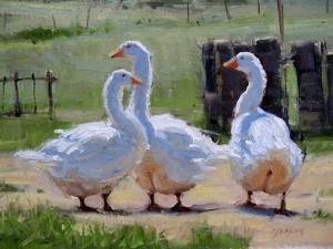 Carol Jenkins, Yard Trio, oil, 12 x 16.