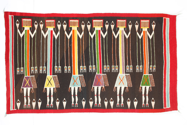 Yeibeichai Rug with Female Dancers, handspun natural wool and synthetic dyes.