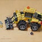 Dianne Massey-Dunbar, Yellow Digger, oil, 5 x 7.