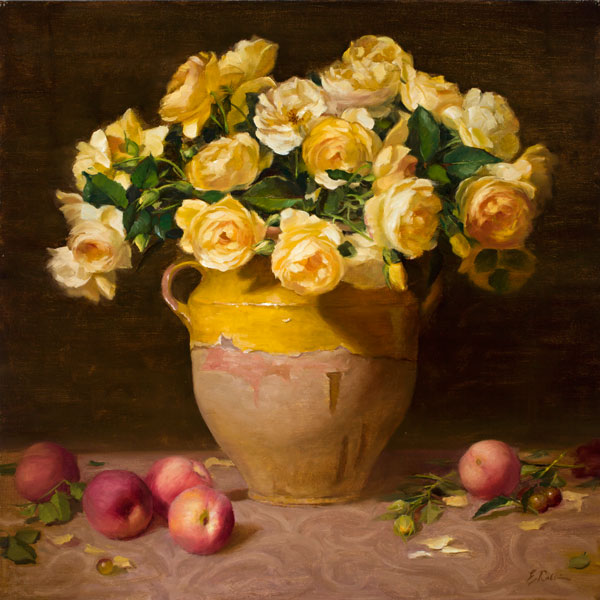 Yellow Roses and Peaches, oil, 24 x 24.