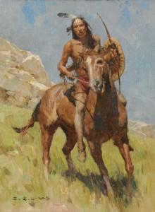 Z.S. Liang, Hunkpapa Scout, oil, 12 x 9.