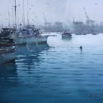 Joseph Zbukvic, Safe Harbor, Watercolor, 22 x 34.