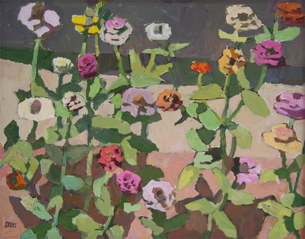 Peggi Kroll-Roberts, Zinnia Days, oil, 16 x 20.