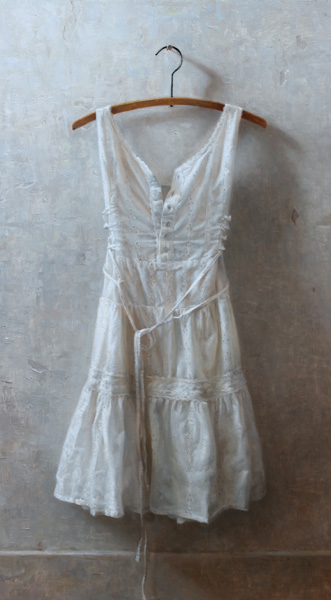 Zoey Frank, White Dress, oil, 39 x 22.