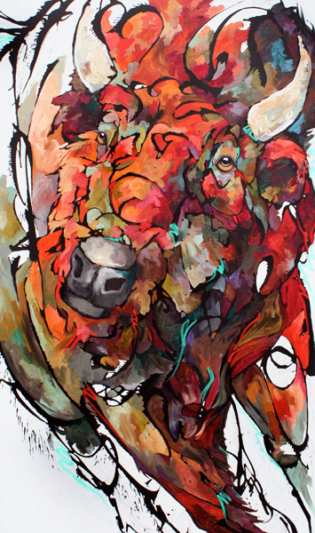 Amy Ringholz, Be Strong, ink/oil, 60 x 36.