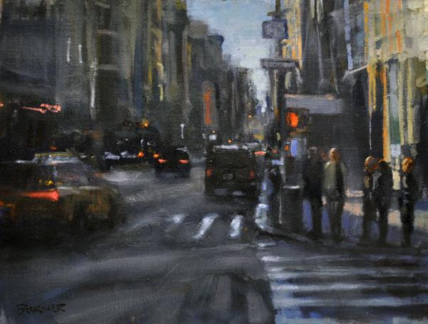 Jim Beckner, City Walk, oil, 11 x 14.
