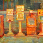 Jim Beckner, Newsstands in Orange, oil, 24 x 24.