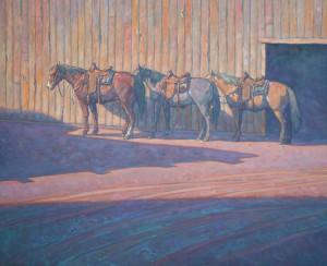 Howard Post, Between Barns, oil, 36 x 44.