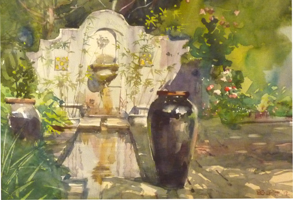 Stewart White, Black Urn, watercolor, 10 x 14.