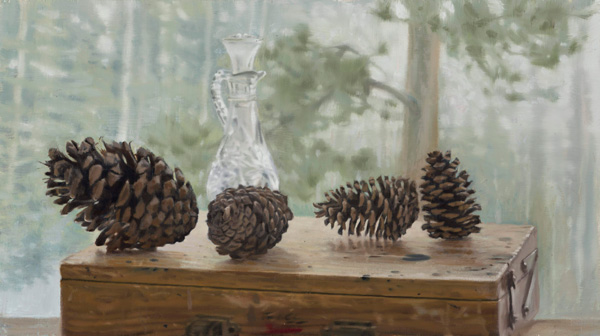 Gregory Block, Pine Cones, oil, 10 x 18.