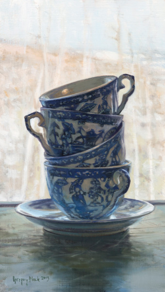 Gregory Block, Teacups, oil, 10 x 6.