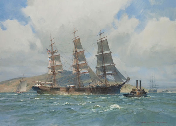 The Down Easter Henry B. Hyde, Preparing to Anchor, San Francisco Bay by Christopher Blossom