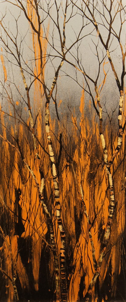 Christopher Owen Nelson, Brush Fire, carved and painted acrylic, 28 x 12.