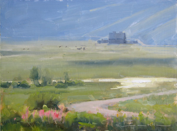 Dave Santillanes, Bush Creek Morning, oil, 9 x 12.