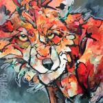 Amy Ringholz, Carmine, ink/oil, 36 x 36.