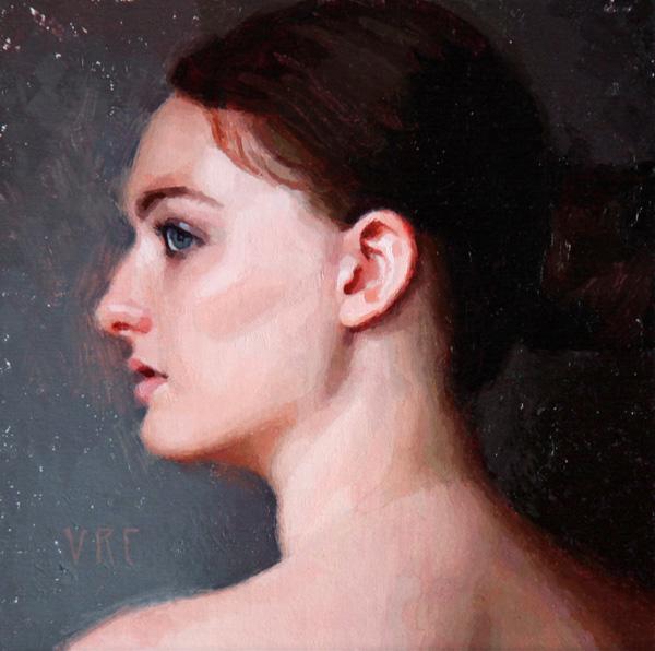 Victoria Castillo, Silence, oil, 6 x 6.