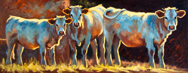 Afternoon Water Break II, oil, 24 x 60.