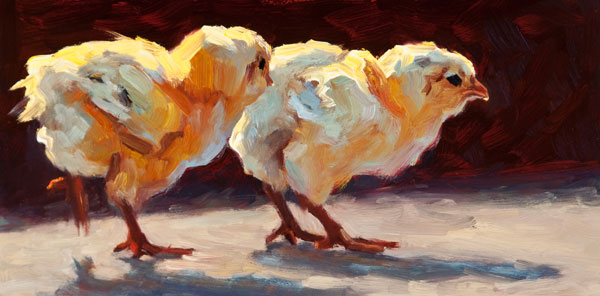 Dynamic Duo, oil, 6 x 12.