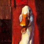 There's a New Duck in Town, oil, 6 x 6.