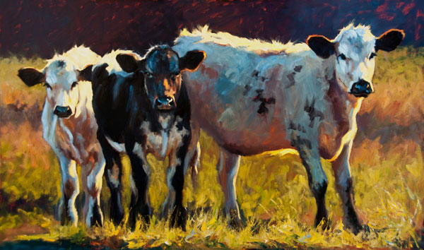 Three's Company, oil, 36 x 60.