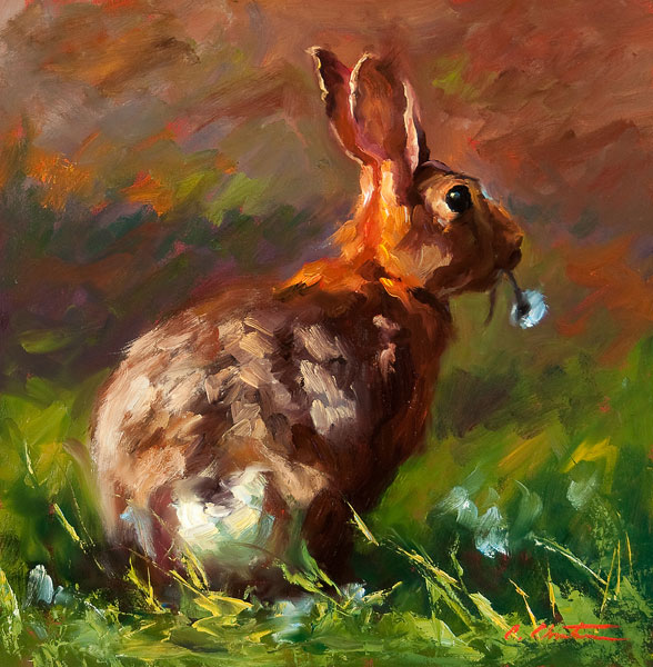 Thumper, oil, 12 x 12.