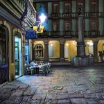 Randy Pijoan, Compostela Str. Nocturne, gouache, 12 x 18.