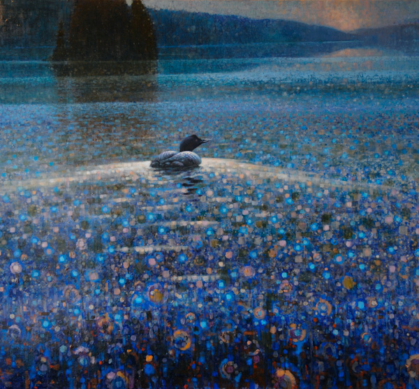 Ewoud de Groot, Twilight Loon, oil, 43 x 47.
